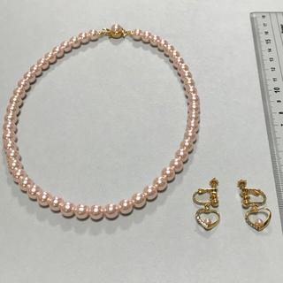 クレージュ(Courreges)の【 クレージュ 】 ピンクパール風 ネックレス  と  イヤリング  セット(ネックレス)