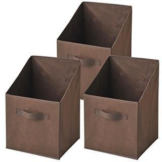 どこでも収納ボックス タテ型 3個セット ブラウン YTCF-3PT(BR)(ケース/ボックス)