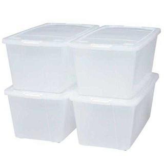 【お買い得!!】収納ボックス  クリア/ホワイト♪4個セット(ケース/ボックス)