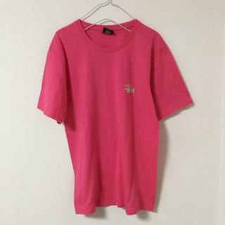 ステューシー(STUSSY)のSTUSSY Tシャツ ロゴ ピンク バックプリント メキシコ製 S ビック(Tシャツ/カットソー(半袖/袖なし))