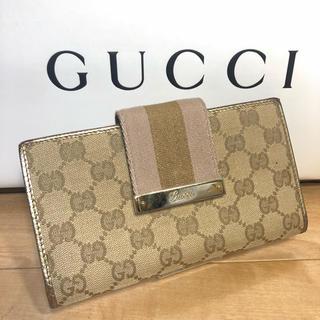 グッチ(Gucci)の正規品 GUCCI 長財布 キャンパス ゴールド(財布)