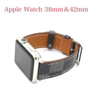 ☆アップルウォッチ ベルト 市松模様 レザーバンド AppleWatch用(腕時計(デジタル))