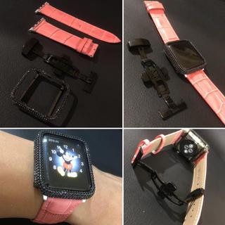 ブラックxピンク★アップルウォッチ用最新版カスタムカバーベルトセット(腕時計(デジタル))