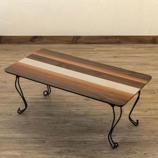 センターテーブル ローテーブル 折りたたみ 折れ脚 幅80cm 奥行40cm(ローテーブル)
