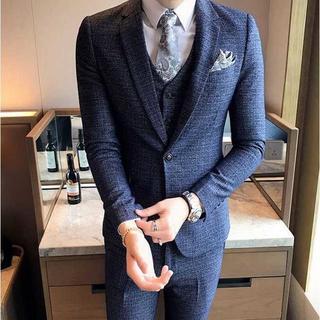無地 スーツメンズ 紳士 セットアップ 細身 スーツジャケット 384 (セットアップ)