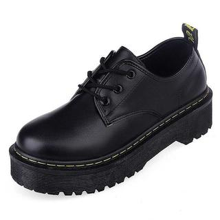 【ラスト1足!!】厚底靴 パンプス フラット☆ブラック(ローファー/革靴)