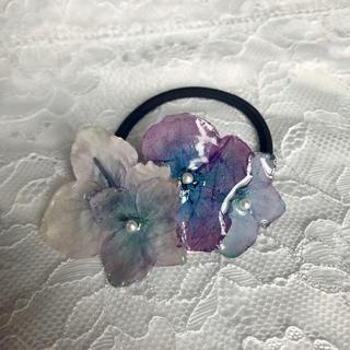 アジサイヘアゴム 紫陽花(ヘアアクセサリー)