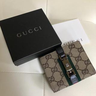 グッチ(Gucci)のGUCCI グッチ シェリーライン  折財布 レザー キャンバス 財布 付属あり(財布)