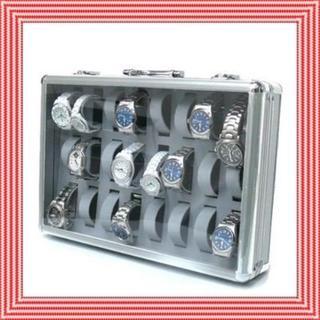 頑丈!収納!アルミ製 腕時計ケース 24個収納 鍵付き(ケース/ボックス)