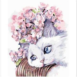 大人の油絵キット⭐️白猫・40*50cm(その他)