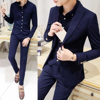 無地 メンズスーツ 紳士 セットアップ スーツジャケット zb429 (セットアップ)