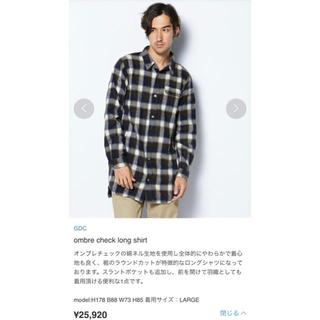 ジーディーシー(GDC)のレア GDC オンブレチェックロングシャツ M ブラウン グランドキャニオン(シャツ)
