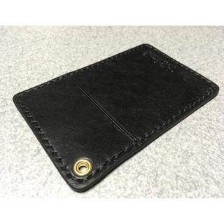 ハンドメイドヌメ革レザーカードケース黒色(名刺入れ/定期入れ)