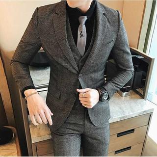チェック柄 メンズスーツ セットアップ 紳士 スーツジャケット zb434(セットアップ)