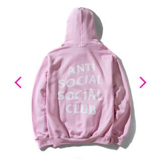シュプリーム(Supreme)のantisocialsocialclub ピンク パーカー Hoodie(パーカー)