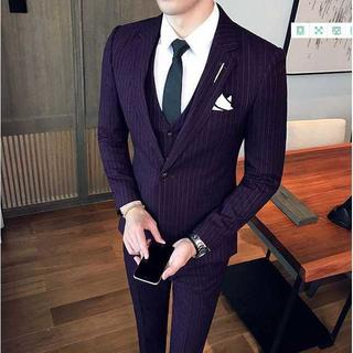 紳士 セットアップ 着痩せ ストライプ スーツジャケット スーツメンズ 390(セットアップ)