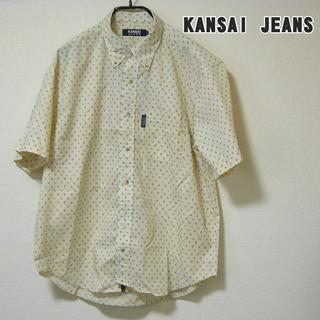 ◆KANSAI JEANS ボタンダウン柄シャツ サイズL(Tシャツ/カットソー(半袖/袖なし))