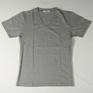 【新品】CAERE Vネック シンプル Tシャツ グレー M (12)(Tシャツ/カットソー(半袖/袖なし))