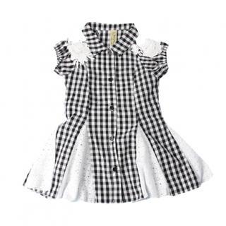 新品! 韓国子供服 100 120 130 140 ワンピース チェック レース(ワンピース)