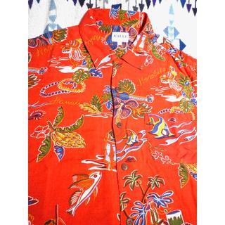 送料込 KAULE アロハシャツ 木製ボタン ホノルル ギター 熱帯魚(シャツ)
