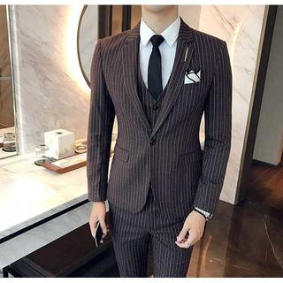 セットアップ 着痩せ ストライプ スーツジャケット 紳士 スーツメンズ 391(セットアップ)