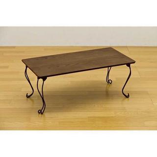 猫脚 折れ脚テーブル ☆グリーン(折たたみテーブル)