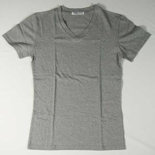 【新品】CAERE Vネック シンプル Tシャツ グレー S (12)(Tシャツ/カットソー(半袖/袖なし))