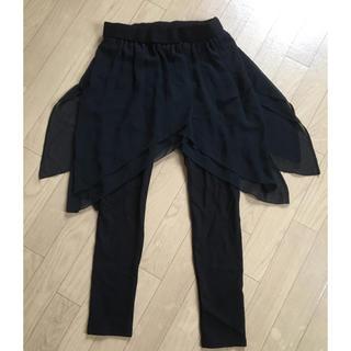 ザラ(ZARA)のZARA ブラックシフォンスカートとレギンス 美品!(ひざ丈スカート)