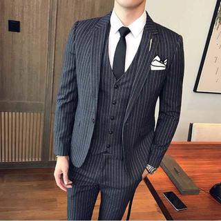 ストライプ スーツジャケット紳士 セットアップ スーツメンズ着痩せ 392 (セットアップ)