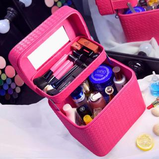 大容量化粧品収納ケースボックス鏡付き新品ピンク(ケース/ボックス)