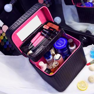 大容量化粧品収納ケースボックス新品ブラック(ケース/ボックス)