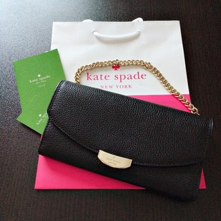 ケイトスペードニューヨーク(kate spade new york)の新品未使用 ケイトスペード 長財布 チェーン付き 人気 ブラック レザー(財布)