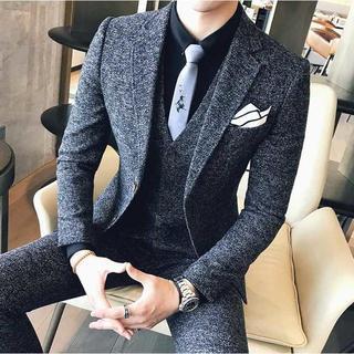 無地 スーツジャケット 紳士 スーツメンズ 細身 セットアップ 393 (セットアップ)