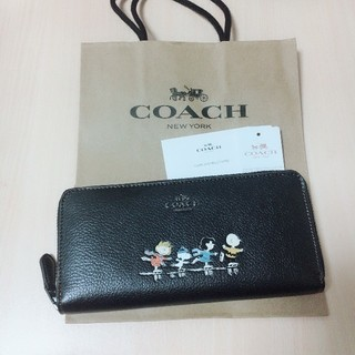 コーチ(COACH)の新品未使用 COACH 長財布 日本未入荷 レア スヌーピー ブラック (財布)