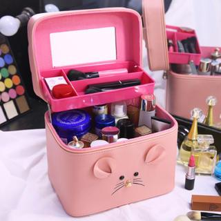 大容量化粧品ケースボックス鏡付き可愛い新品ピンク(ケース/ボックス)