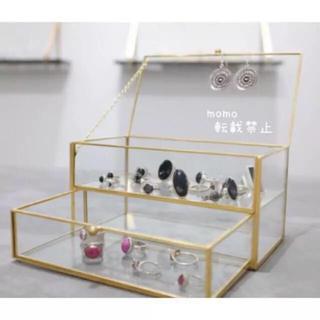 ガラス製♡2段ボックス♡アクセサリー収納♡ボックス♡ケース♡小物入れ♡シンプル♡(ケース/ボックス)