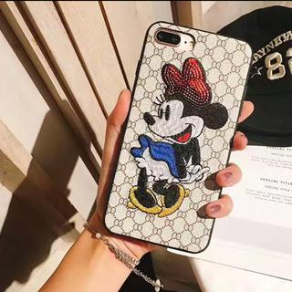 Disney - iPhone7・8兼用ケース  ミニーちゃん  刺繍  新品