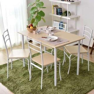 新品 木目調 ダイニングテーブル 5点セット ナチュラル(ダイニングテーブル)