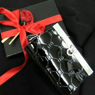 KU024 送料無料♪本革!牛革 6連キーケース エナメル型押し ブラック(長財布)