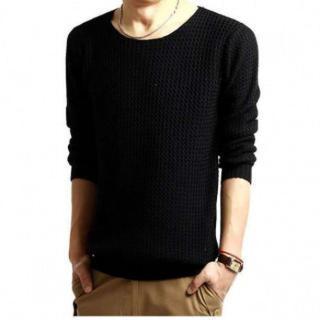 ラウンドネック 長袖 セーター メンズ シンプル ニット【ブラック】(ニット/セーター)