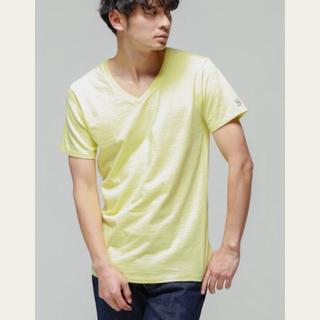 ハリウッドランチマーケット(HOLLYWOOD RANCH MARKET)のハリウッドランチマーケット VネックTシャツ イエロー メンズL サイズ3(Tシャツ/カットソー(半袖/袖なし))