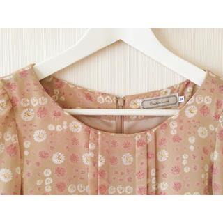 クチュールブローチ(Couture Brooch)のひざ丈ワンピース 花柄 七分袖 シフォン 38 バックジップ ベージュ系(ひざ丈ワンピース)