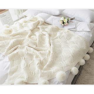 ☆ホワイトボール毛布ニット☆高級で暖かいニットブランケット ♪(毛布)