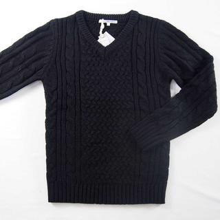 【新品】improves セーター ブラック Vネック 秋冬 S (50)(ニット/セーター)