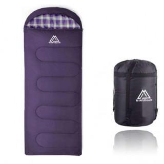 大人気♡チェック柄 寝袋 シュラフ 封筒型 軽量 丸洗いOK パープル/グレー(寝袋/寝具)