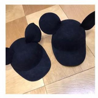 2個セット【黒 ブラック】耳付き フェルトキャップ 新品(キャップ)