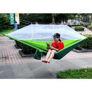 大人気☆ハンモック 蚊帳付き 軽量 高強度パラシュート生地の素材(寝袋/寝具)