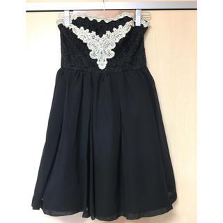 ロジータ(ROJITA)のROJITA ロジータ ワンピース ドレス ミニ 刺繍 ビジュー付 黒 ブラック(ミニドレス)