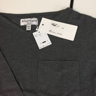 アメリカーナ(AMERICANA)の新品タグ付き アメリカーナ  Americana Tシャツ  ワンサイズ グレー(Tシャツ(長袖/七分))