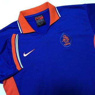 ナイキ(NIKE)のNIKE 元オランダ代表 ベルカンプ ユニフォーム 青 オレンジ アウェイ L(ウェア)
